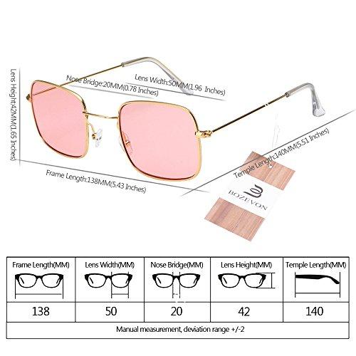 Femmes de Unisex BOZEVON UV400 lentille Rectangulaire Lunettes Or rose soleil Classique Lunettes cadre dwYfYx6q