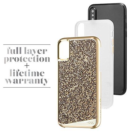 Case-mate Cristal métallique Boutons double couche absorbant les chocs protection Force brillant à coque pour iPhone 8–Champagne