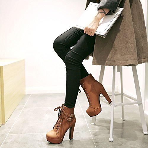 Chunky Shoes up Heels Sexy Brown Ankle Buckle Lace Women Boots High 100FIXEO Strap Platform wt7anCHq0x