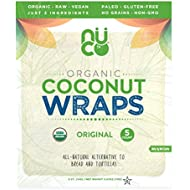 NUCO Certified ORGANIC Paleo Gluten Free Vegan Coconut Wraps, 5 Count (One Pack of Five Wraps)