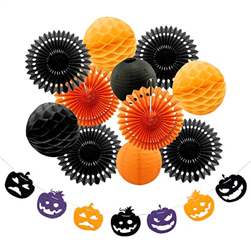 YANWIN Halloween Party Decoration Kit, Pumpkin Banners, Paper Fan Flowers, Honeycomb Balls & Paper Lantern, Hanging for Room, Door, Yard