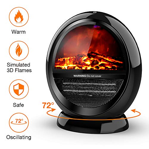 Cheap Space Heater - Bedroom Space Heater with 2 Heat Settings Electric Space Heater with Tip-Over Shut Off Oscillating Heater Fireplace Heaters for Indoor Use Low Noise Flame Effect M Black Black Friday & Cyber Monday 2019
