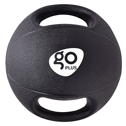 Goplus Dual Grip Medicine Ball for Fitness Weighted Balance Plyometric Training Muscle Build Workout with Handle, (Wholesale Bouncing Balls)