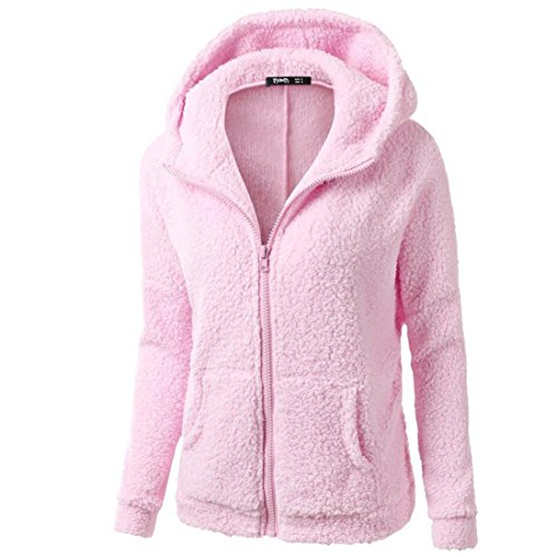 iQKA Women Plus Size Casual Hooded Sweatshirt Coat Full Zipper Hoodie Thick Outwear(Pink,XXXXX-Large) ()