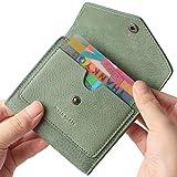 Borgasets Women's RFID Blocking Small Compact Bifold Leather Pocket Wallet Ladies Mini Purse (Nubuck Green)