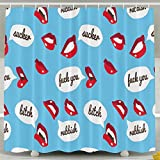MropLtoa Mouth Sex Lip Fuck You Bitch Pattern Shower Curtain Repellent Fabric Mildew Resistant Machine Washable Bathroom Anti-bacterial Polyester Liner Free Of PVC For Shower Stall, Bathtubs-6072
