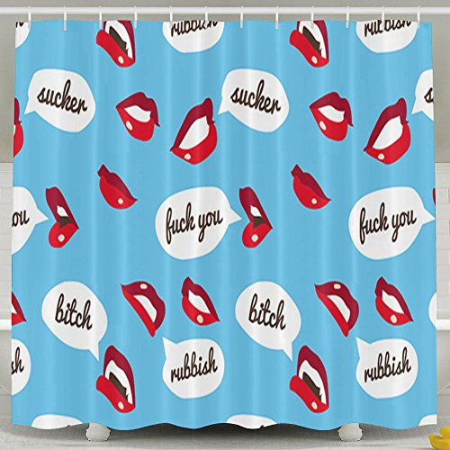 MropLtoa Mouth Sex Lip Fuck You Bitch Pattern Shower Curtain Repellent Fabric Mildew Resistant Machine Washable Bathroom Anti-bacterial Polyester Liner Free Of PVC For Shower Stall, Bathtubs-6072 by MropLtoa