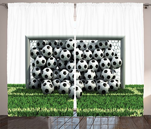 Ambesonne Sports Decor Collection, Goal Net Full of Soccer Balls on the Football Field Schoolyard Victory Image, Living Room Bedroom Curtain 2 Panels Set, 108 X 90 Inches, Green Black and White