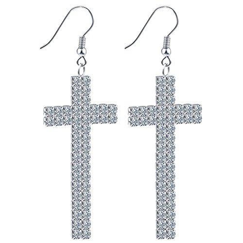 Lord Bless You Silver Austrian Crystal Dangle Cross Earrings for (Austrian Crystal Cross)