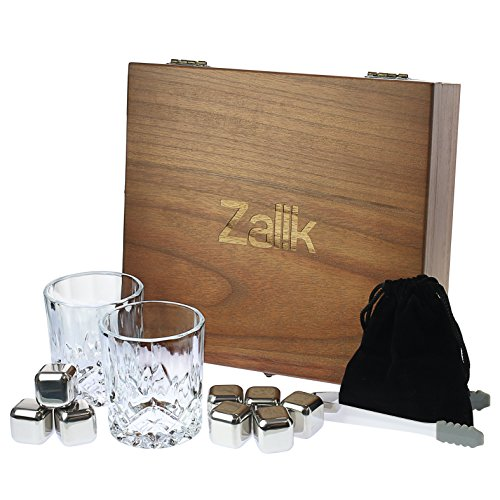 Zalik Whiskey Stones Gift Set – Set Of 8 Stainless Steel Beverage Chilling Rocks Ice Cubes Includes 2 Whiskey Glasses, Velvet Bag, Tongs With Elegant Wooden Gift Box - For - Cool Wooden Things