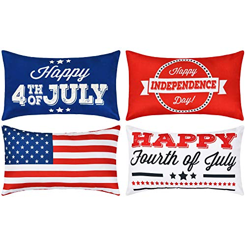 BLEUM CADE Happy Independence Day Throw Pillow Cover Happy Fourth of July Pillow Covers Set of 4 Decorative Cushion Cover for Sofa Couch Chair Bed Car Office (Red White Blue, - Pillow Day Throw