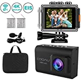 COOAU 4K 20MP WiFi Action Camera Ultra HD Sports Camera 170°Wide-Angle Lens 98ft Underwater Camcorder, EIS Sony Sensor, External Mic, Travel Bag Includes mounting Accessories 2 Upgraded Batteries