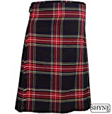 Black Stewart Men's 5 Yard Scottish Kilts Tartan Kilt 13oz Highland Casual Kilt (36'')