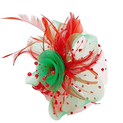 Mycharm Christmas Fascinators Hat for Women Wedding Feather Flower heandbands Party Derby Headbands Clip Tea Party Headwear ()