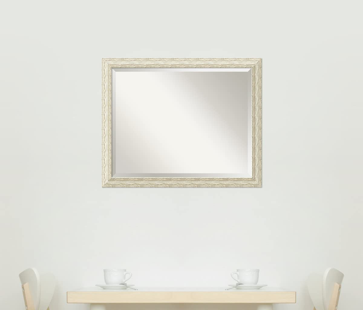 Country White Wash Mirror for Wall Solid Wood Wall Mirrors Medium Wall Mirror 24.25 x 24.25 Amanti Art Framed Mirrors for Wall