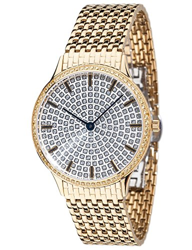 Yves Camani Garonne Women's Wrist Watch Quartz Analog Stainless Steel Gold Plated Silver Dial
