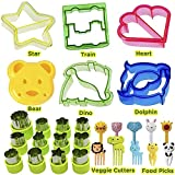 Sandwich Cutters for Children Vegetable Cutter Shapes Set of 28 Pieces - Animal Shapes: Dolphin Car Dinosaur Heart Star Bear Stainless Steel Fruit Cutters Fruit Picks for Kids Food by KAISHANE