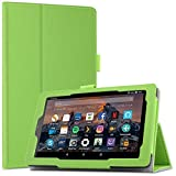 Infiland All-New Fire 7 Tablet Case - Slim Fit Folio Stand Cover Case for For All-New Fire 7 Tablet with Alexa (7th Generation, 2017 release), Green
