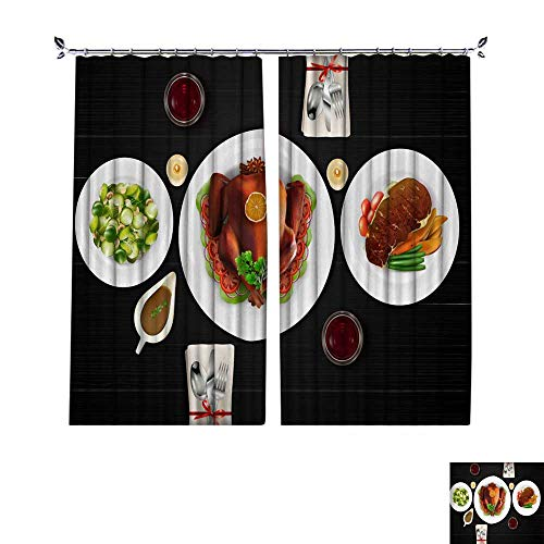 als Customized Curtains Cooked Meat Steak with Roasted Turkey and Salad on Dark Wooden Table W96 x L84 ()