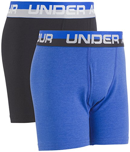 (Under Armour Boys' Big 2 Pack Solid Cotton Boxer Briefs, Ultra Blue/Black, YXL)