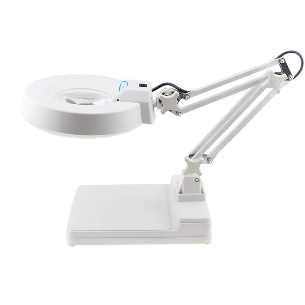 Large Portable Magnifier Desk Table Reading Lamp Magnifying Glass LED Lighted Hands Free Magnifying Glass with Light Stand for Jewellery Sewing Handcraft Hobby Hobbies and Crafts by Magnifier yumingjingxiao
