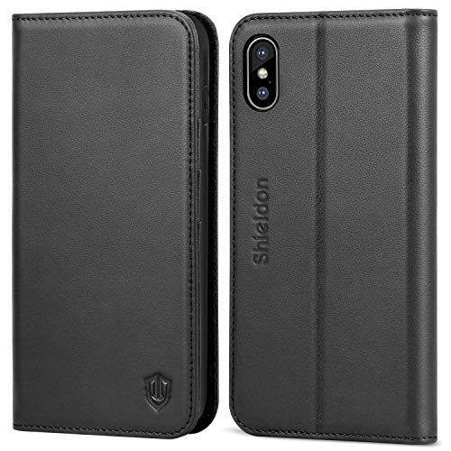 (SHIELDON iPhone Xs Max Case, Genuine Leather iPhone Xs Max Wallet Case [Auto Wake/Sleep] [RFID Blocking] Credit Card Slot Flip Magnetic Stand Case Compatible with iPhone Xs Max (2018) - Black )