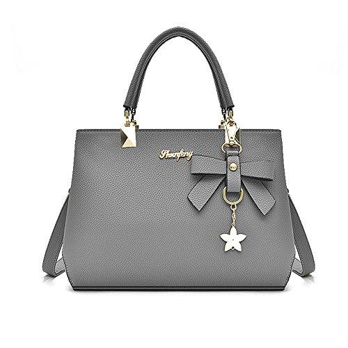 Female Designer Shoulder Bags Ladies Faux Leather Handbags (color: Brown) Gray
