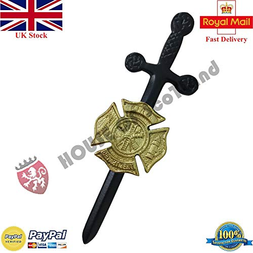 Celtic Kilt Pin Fire Rescue Department Black & Golden Scottish Pins & Brooch ()