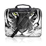 TaylorHe 15.6 inch 15 inch 16 inch Hard Wearing Nylon Laptop Carry Case Colourful Laptop Shoulder Bag with Patterns, Side Pockets Handles and Detachable Strap Tiger Face