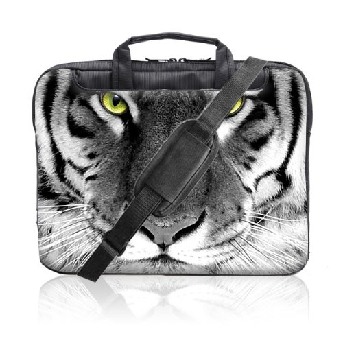 TaylorHe 15.6 inch 15 inch 16 inch Hard Wearing Nylon Laptop Carry Case Colourful Laptop Shoulder Bag with Patterns, Side Pockets Handles and Detachable Strap Tiger Face by 15'6 inch TaylorHe Nylon Laptop Carry Cases (Image #1)