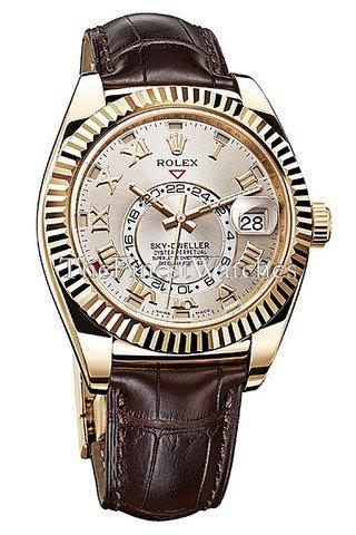 Rolex Sky Dweller Chocolate Dial Rose Gold Men's Watch - Rolex Gold Rose Watches