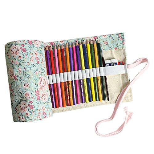 Taotree Stifterolle für 72 Buntstifte und Bleistifte, aus Canvas, Stifteetui Roll-up für Künstler, Mehrzwecktasche für Reisen / Schule / Büro / Kunst (Anmerkung: ohne Farbstifte) (Countryside)
