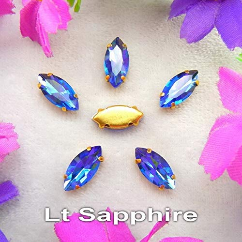 Pukido Glass Crystal Gold Claw Settings 8 Sizes Nice Colors Horse Eye Navette Marquise Shape Sew on Rhinestone Beads Applique DIY - (Color: A21 Lt Sapphire, Size: 5x10mm 50pcs)