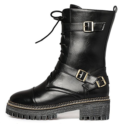 Rubber Zipper Women's Buckle Fashion Boots Boots Thick up Black Martens Lace KingRover Strap Sole zXYqdYw