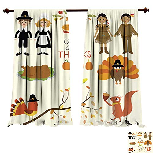 DragonBuildingMaterials Window Curtains for Bedroom Happy Thanks Giving with Pilgrim and red Indian Costume Children Bedroom Living Room Modern Home