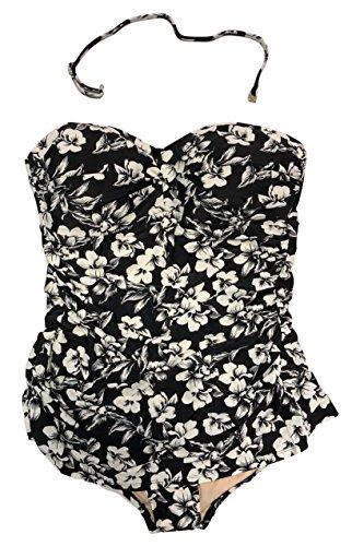 Merona Women's Twist Front Bandeau One Piece Swimsuit (Black/White Floral Print, X-Large)