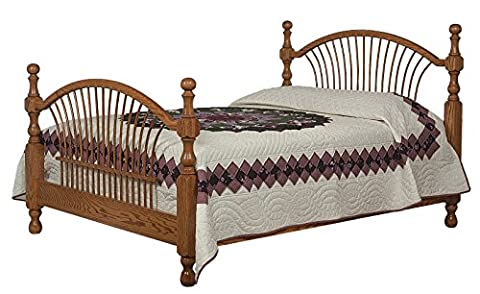 Amish Heirlooms Solid Oak Classic Heritage Total Bow Sheaf Bed for King Mattress, 88