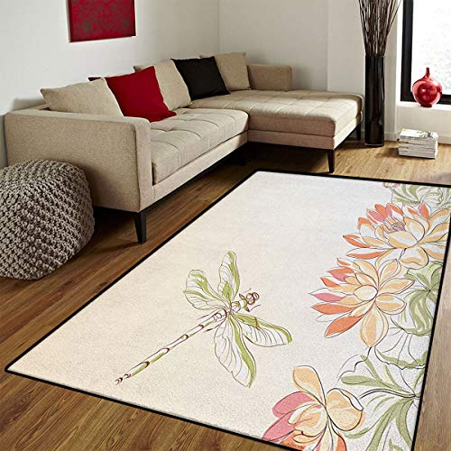Dragonfly,Door Mat Outside,Lotus Flower Field with Dragonfly Flying Oriental Blooms Artful Print,Door Mats for Inside Non Slip Backing,Cream Peach Coral,6.6x8 ft ()