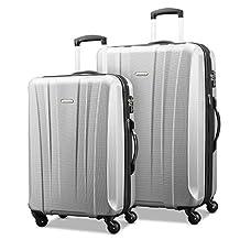 Samsonite 91823-1776 Pulse DLX Lightweight 2-Piece Hardside Luggage Set, Silver, Checked – Large