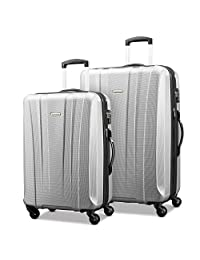 Samsonite 91823-1776 Pulse DLX Lightweight 2-Piece Hardside Luggage Set, Silver, Checked – Large