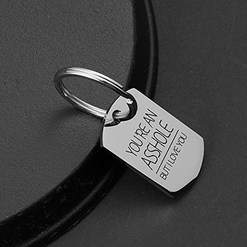 omodofo Valentine's Day Funny Keychain Dog Tag Charm Keyring Couples Love Lettering (You're An Asshole But I Love You) by omodofo (Image #1)'