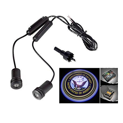 (Lupar 5w 4th Generation 2x LED Car Door Laser Projector Ghost Shadow Step Light Logo (NAVY))