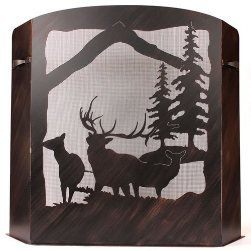 Small Fireplace Screen Elk Scene With Burnt Sienna