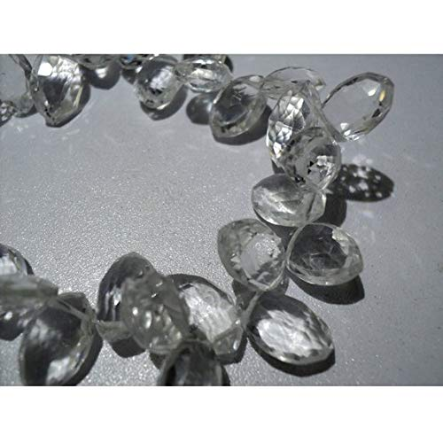 Super Quality Gemstone Beautiful Jewelry Quartz Crystal Faceted Briolette Beads, Marquise Shape Crystal Briolette Beads - 12mm To 13mm Each - 8 Inch Strand Code-JP-3646   B07KNQ5BKD