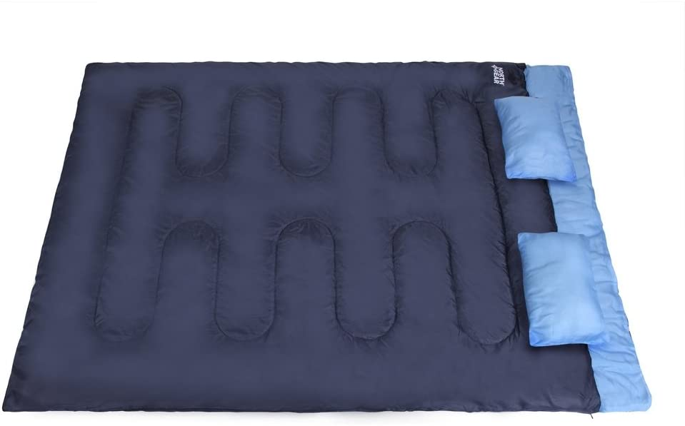 North Gear Double Sleeping Bag for Backpacking, Camping, Or Hiking – with Pillows