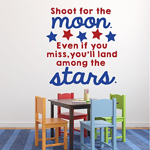 Classroom Vinyl Wall Decal Decorations - Shoot for the Moon, Inspirational Quote for Children with (2nd Grade Classroom Themes)