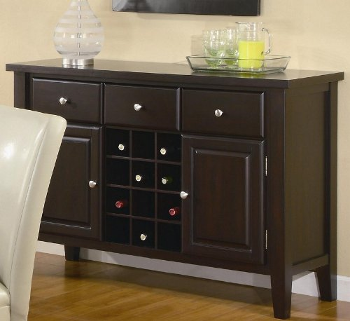 - Coaster Carter Buffet Style Server in Dark Brown Wood Finish