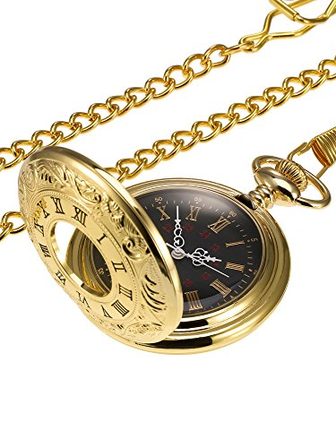 Hicarer Vintage Pocket Watch Steel Men Watch with Chain -