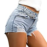 Women Low Waist Denim Shorts Pants Ladies Summer Fashion Vintage Ripped Hole Jeans (L, Blue 05)
