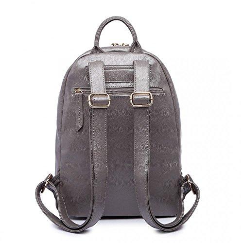 Miss Lulu aspecto de piel grande mochila trabajo bolsa de escuela gris